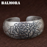 BALMORA 990 Pure Silver Flower Open Bangles For Women Lover Gift Thai Silver Antique Jewelry About