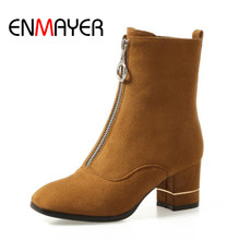ENMAYER Winter Ankle Boots Flock Materials High Quality Black Yellow Color Shoes for Women Autumn Zippers Fashion Comfort
