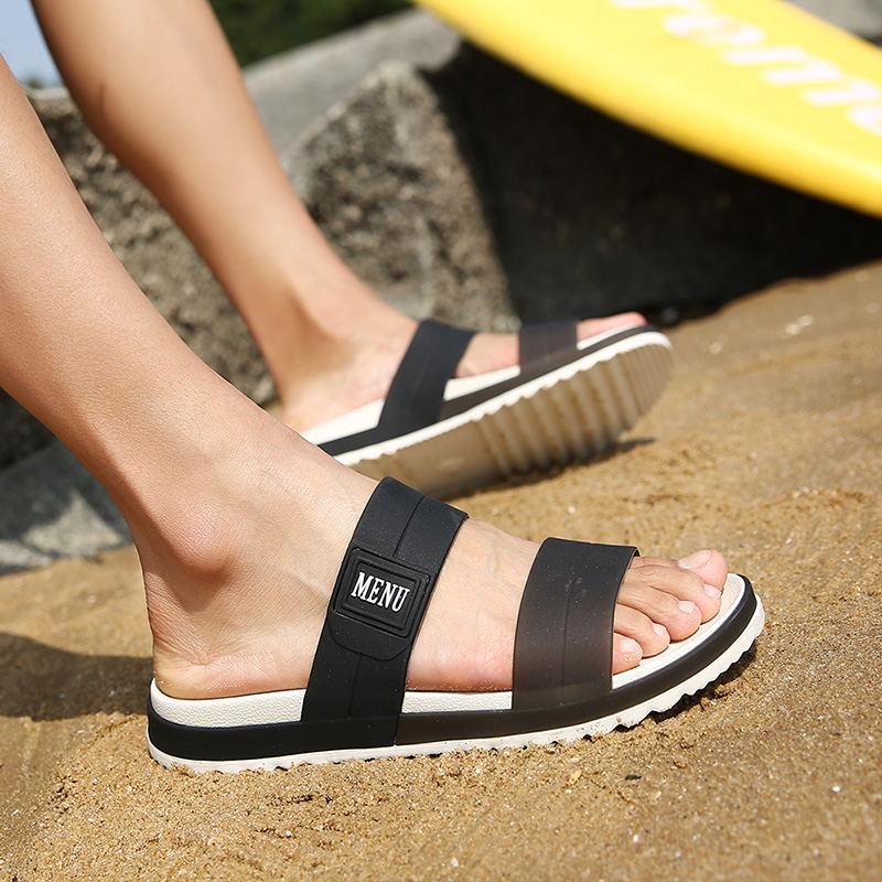 LAISUMK Summer Beach Men Slippers Casual Shoes Double Buckle Man Slip on Flip Flops Flats Camouflage Flip Flop Indoor & Outdoor 90