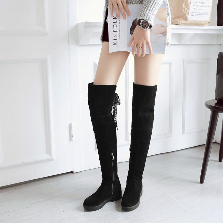 ФОТО Side zipper scrub lacing plus size shoes 40 43 customize big drum knee-length boots coarse thigh boots size free shipping