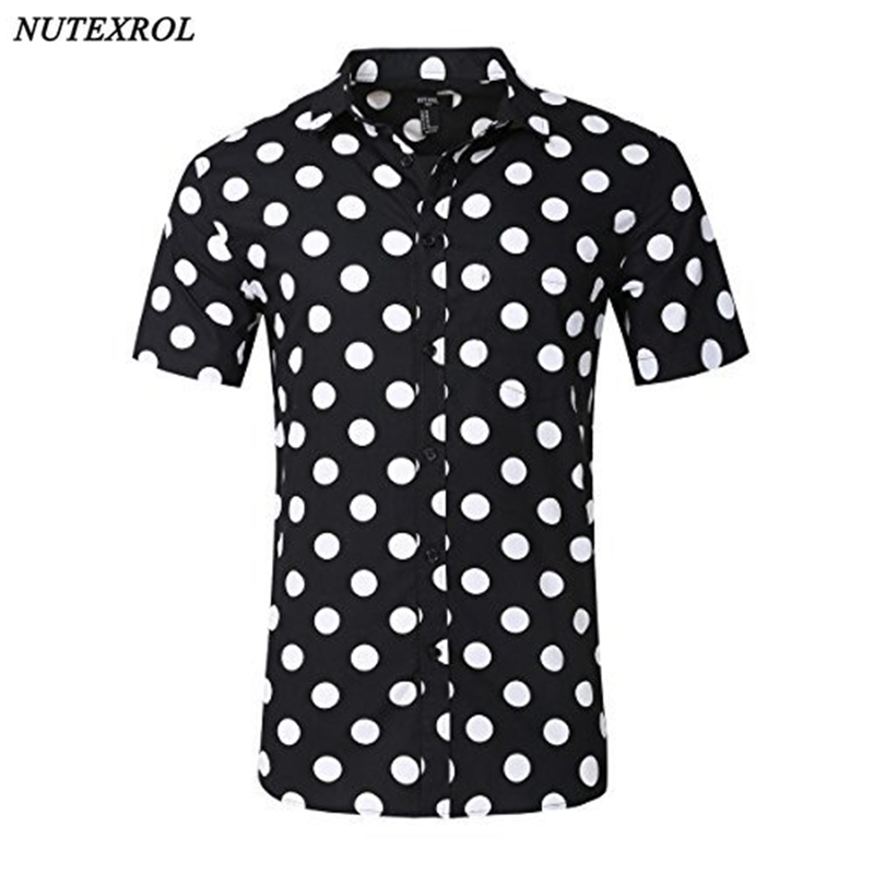 NUTEXROL Mens Premium Polka Dot Print Casual Shirt Short Sleeve Cotton Shirts Black ...