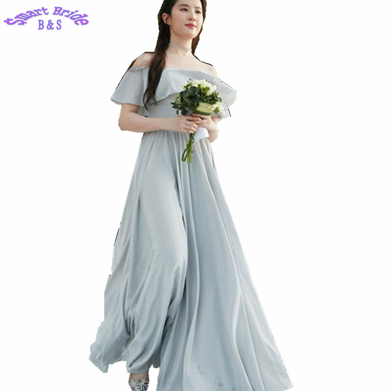 Chiffon   Bridesmaid     Dress   A-line Grey Light Purple Formal Gown Custom Made Simple Wedding Party Guest   Dresses   BD44