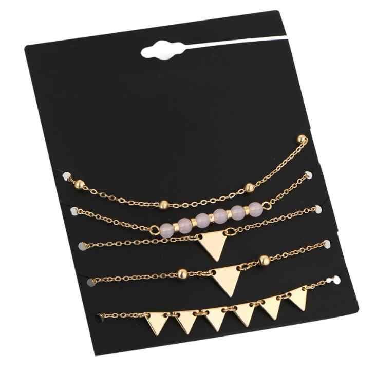 High Quality 5Pcs Alloy Triangle Bracelet Stone Bracelets For Women Gold Color Charm Pulseiras Set Pulseras Mujer Pendant Bead
