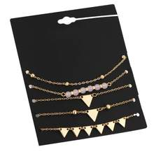 High Quality 5Pcs Alloy Triangle Bracelet Stone Bracelets For Women Gold Color Charm Pulseiras Set Pulseras Mujer Pendant Bead(China)