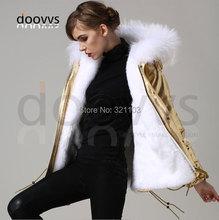 2016 New Women's Winter Jacket Short Style Large Raccoon Fur Collar Slim Warm Hooded Coat Mrs GOLD leather faux fur Jacket