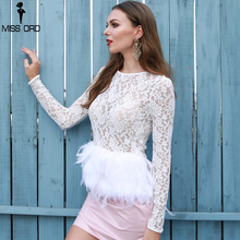 Missord 2018 Sexy  O Neck Long Sleeve Lace See Through Feather  Female White Top FT8732