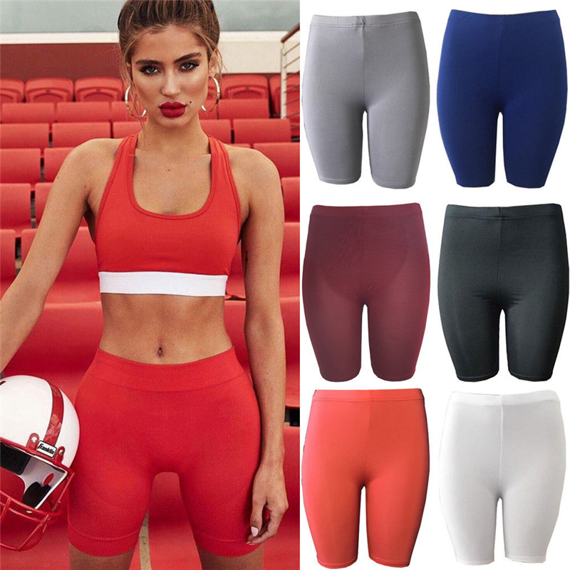 2019 Fashion Women Summer Casual Bodycon High Waist Solid   Shorts   Comfy Sports   Shorts   Stretch   Shorts   New Arrival
