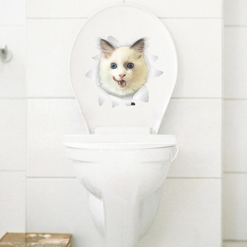 Cats Dog 3D Wall Sticker Bathroom Toilet Living Room Kitchen Decoration Animal Vinyl Art Sticker Poster 20