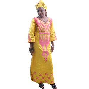 Image 4 - MD ladies african dresses scarf african bazin riche dress with embroidery head wrap women maxi dress african print dresses kanga