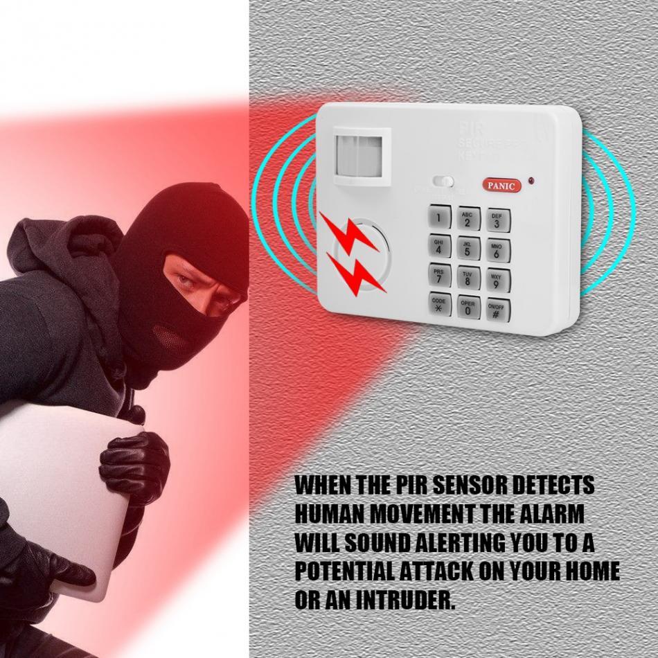 VBESTLIFE Sans Fil PIR Motion Sensor D'alarme Mot de Passe Clavier Anti Antivol de Sécurité À Domicile Clavier À Distance Infrarouge Détecteurs