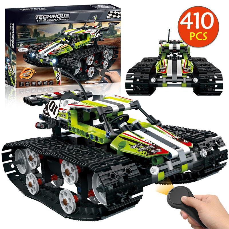 Moteur de contrôle à distance de briques de voiture de course sur chenilles Compatible avec la technologie de pointe RC blocs de construction de fonction de puissance jouets pour enfants