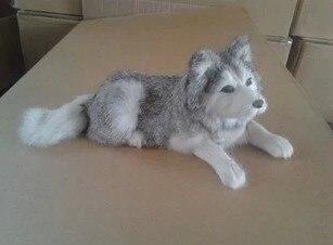 simulation lying husky dog about 30*11CM model toy lifelike gray husky dog toy handicraft ,decoration gift t409 big simulation lying dog polyethylene