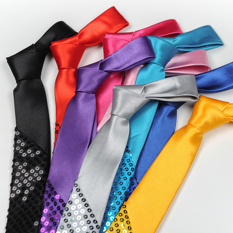 5 CM Sequined Tie Stage Magic Show For Narrow-edition Wedding Party For Male Female Student Neckties Necktie Neckcloth Neckwear