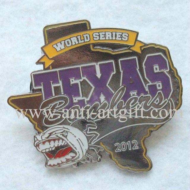 "Custom multiple design city of US TEXAS iron baseball printing logo lapel pins 2"" with horrible enamel mask animal accessories"
