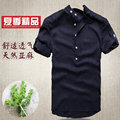 Free shipping Summer thin stand collar Chinese style linen short sleeve shirts male plus size short-sleeve shirt men's clothing