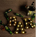 1X Brown Color Metal Letter Led Light, Height 23cm, Warm White emitting Color Bedroom Night Lamp, Coffee Shop Bar Party Lights