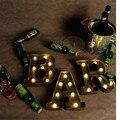 1X Cor Marrom Letra Metal Diodo Emissor de Luz, altura 23 cm, emitindo Cor Branco quente Quarto Noite Lamp, Coffee Shop Bar Luzes Do Partido