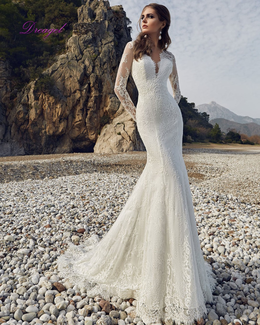 Wedding Dresses With Lace Sleeves 2017 : Aliexpress buy dreagel new arrival elegant long