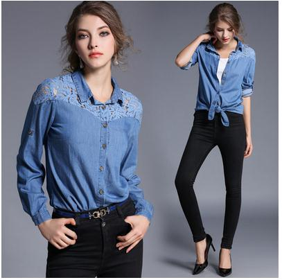 9f43caca40c New lapel single-breasted bud silk shirt washed denim long sleeve shirts