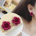 Frete Grátis Moda Jóias Rose Banhado A Ouro brinco de Cristal Para As Mulheres flores Imitação de Pérolas Brincos de Presente azul roxo vermelho