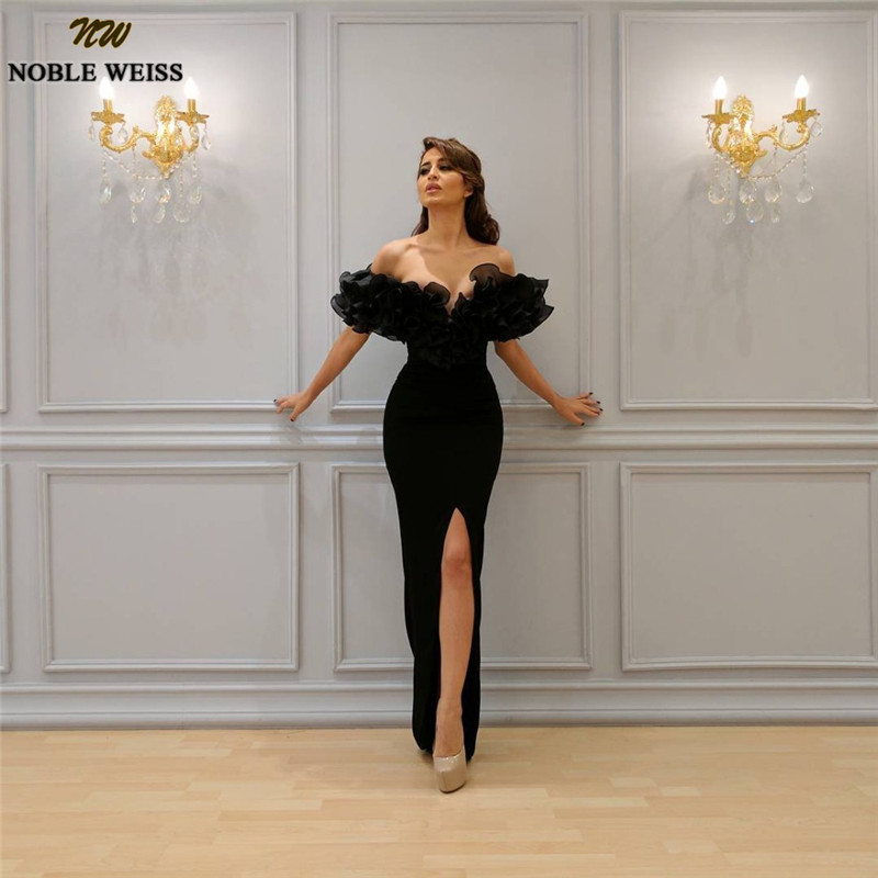 NOBLE WEISS Sexy Black Off Shoulder Mermaid   Evening     Dress   Plus Size Front Split Yousef Aljasmi Cheap Arabic African Prom Gowns