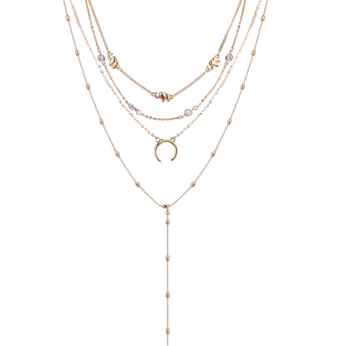 73b1dcc7c0 New Fashion Simplicity Style Gold Elephant Moon Small Element Pendant Multi  Layer Necklace Charm Sexy Clavicle