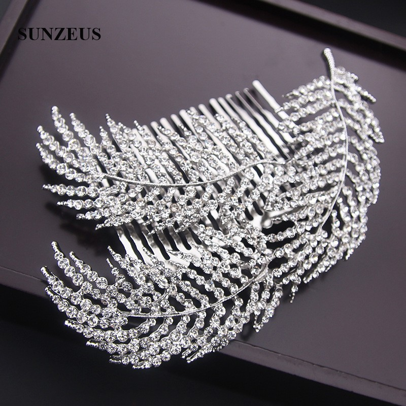 Купить с кэшбэком Stunning Beaded Bridal Comb Hair Accessories Leaf Sharp Gorgeous Hair Decoration Headband SHA07