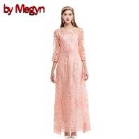 By Megyn Autumn Long Dress Three Quarter Casual Dresses White Floral Embroidered Dress Vestidos De Festa