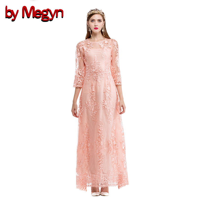 Festa Pour Longue Megyn Les white Floral Casual Par Parti Pink Robe Robes Quarts Brodé Trois Automne Mariages De Blanc j3A4c5qRL