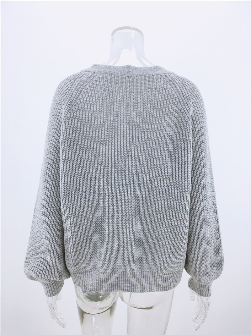 Simenual Casual Fashion Knitted Cardigans Sweater Women Solid Basic Autumn Winter Jumpers 19 Long Sleeve Button V Neck Sweater 4