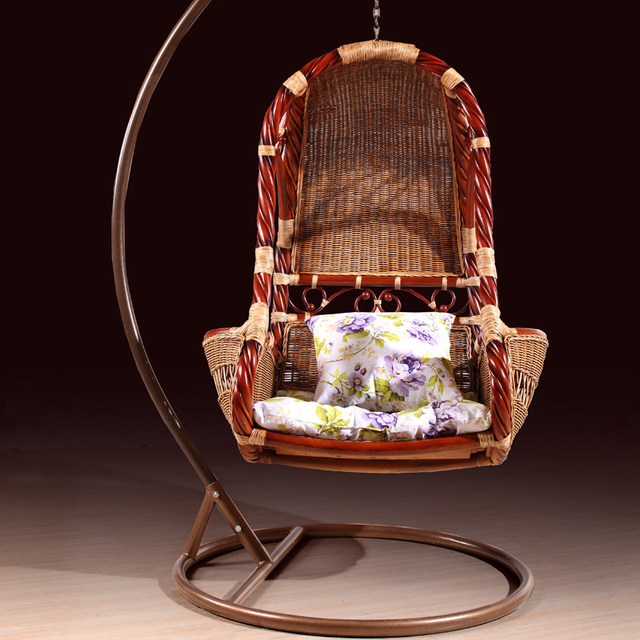 Us 840 0 Rattan Basket Hanging Chairs Indoor Balcony Casual Woven Natural Wicker Chair Swing Rocking Wrought Iron In Baskets From