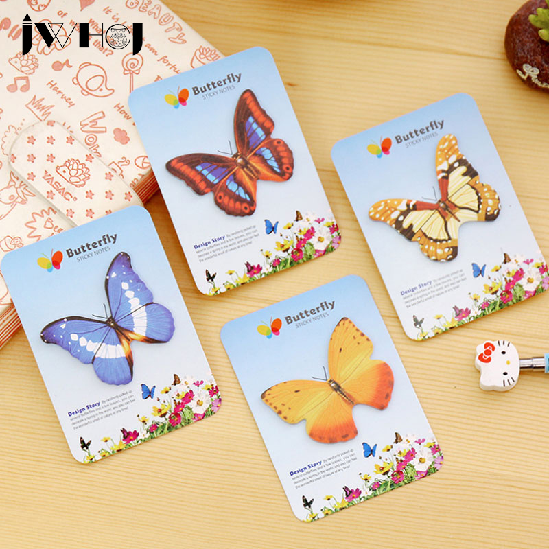 4pc/lot Colorful butterfly Decor sticker pad paper sticky notes post notepad memo stationery papeleria school office supplies