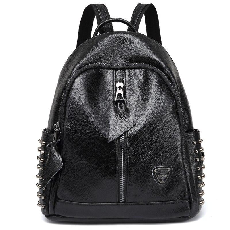 Genuine Cowhide Leather Backpack Large Capacity Rivet Black Shoulder Bag Women Casual Backpack Teenage Girl School