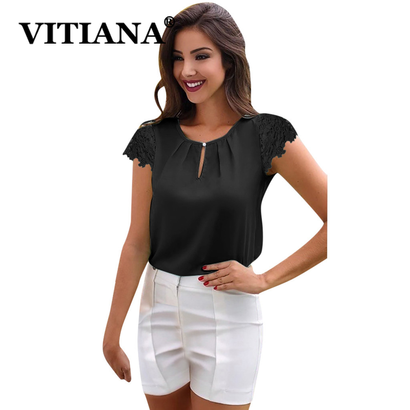 VITIANA Women Casual Chiffon Blouse Summer 2019 Female Lace Short Sleeve O-Neck Button Beach Womens Tops Office Work Blouses