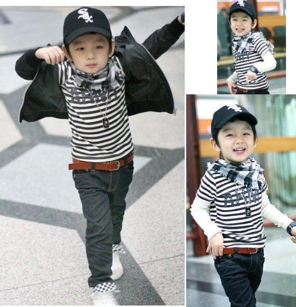 Good Quality Korea Style Boy T Shirt Long Sleeve Cotton T Shirt Bottoming Shirt Child Garment