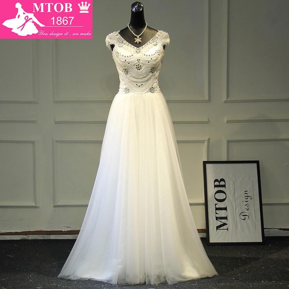 Gorgeous Shiny Beads Crystals Wedding Dress Robe De Mariee Vestido De Noiva Vintage  Beach Wedding Dresses MTOB1788
