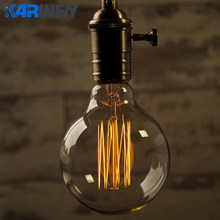 KARWEN Vintage Edison bulb G95 Retro lamp G80 Incandescent bulb E27 220v Wedding lights 40w filament sprial For Pendant Lamp(China)