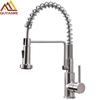Quyanre SUS304 Stainless Steel Lead-free Kitchen Spring Faucet Brushed Nickel Pull Out 360 Rotation Spray Kitchen Spring Tap