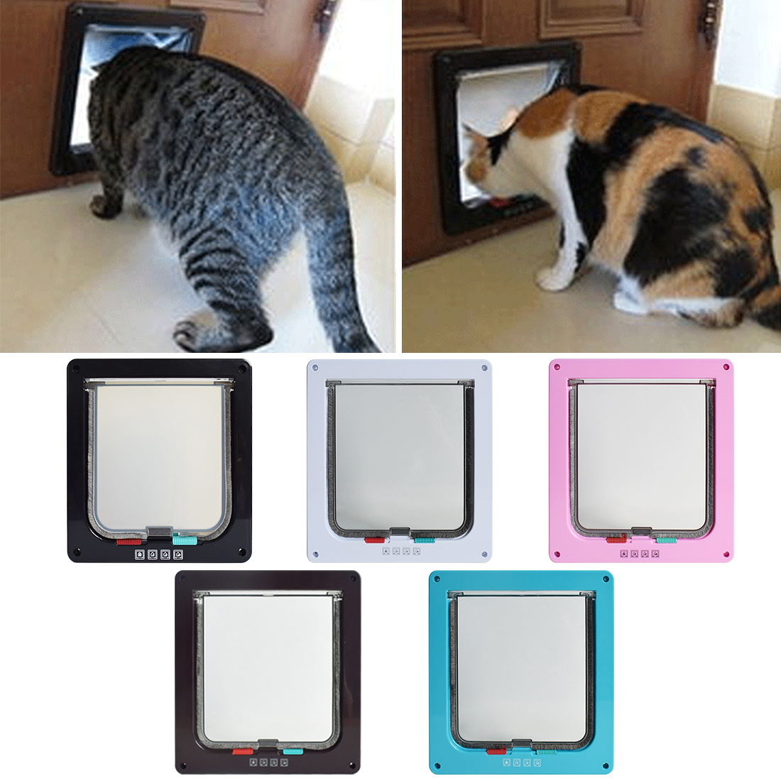 1pc Dog Cat Door Plastic White Safe Pet Door For Large Medium Dog Freely In And Out Home Gate Animal Pet Cat Dog Door