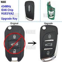 WALKLEE Upgrade klucz zdalny dostęp bezkluczykowy nadajnik garnitur dla Peugeot 208 2008 301 308 508 434MHz z chipem ID46 (7941)
