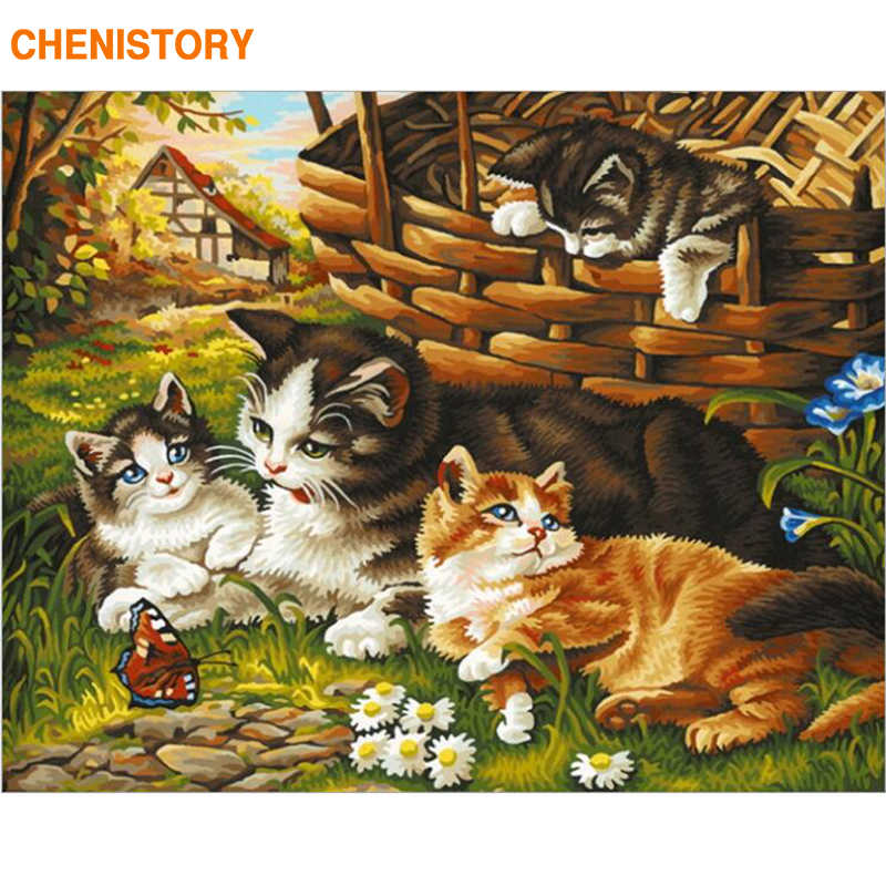 CHENISTORY Frameless Cats Animals DIY Painting By Numbers Modern Wall Art Picture Paint By Numbers Calligraphy Painting Home Art
