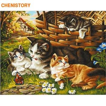 CHENISTORY Çerçevesiz Kediler Hayvanlar Sayılar Tarafından DIY Boyama Modern Duvar sanat resmi Boya Kaligrafi Boyama Ev Sanat