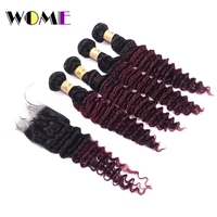 Wome T1B/99J Burmese Deep Wave Bundles With Closure Red Wine Color Human Hair Curly 4 Bundles With Lace Closure Free Part