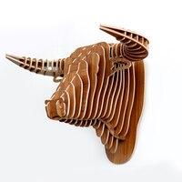 Wooden Taureau Head Carved Wood Animal Head 3d Animal Head