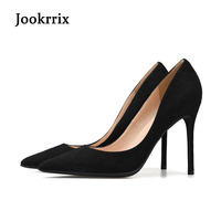 Jookrrix New Brnad Fashion High Heels Office Sexy Lady Shoes Women Pointed Toe Black Slip On