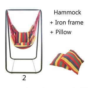 Hamaca para dormitorio de estudiantes, hamaca para habitación interior y exterior, cama colgante de ocio para niños con marco de hierro y almohada