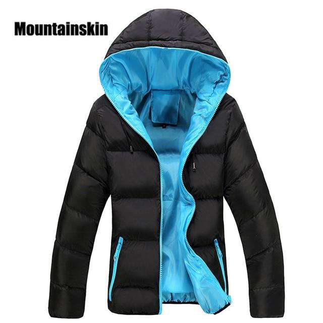 Куртка с капюшоном унисекс Mountainskin, черная повседневная утепленная приталенная куртка на молнии, теплая верхняя одежда, размеры до 5XL, зима 2019
