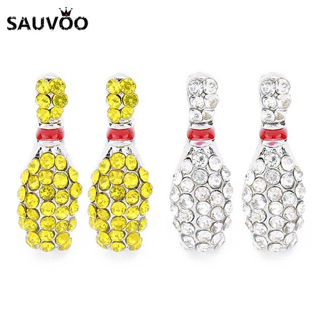 SAUVOO 1 пара Боулинг серьги цвета: золотистый, серебристый Цвет циркон серьги сообщение для Для женщин Для мужчин серьги ювелирных изделий Выводы