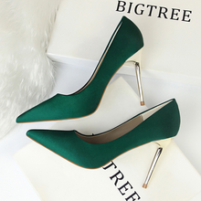 High-heeled women shoes European and American style fashion simple satin shallow mouth pointed sexy nightclub shoes high heels цена 2017