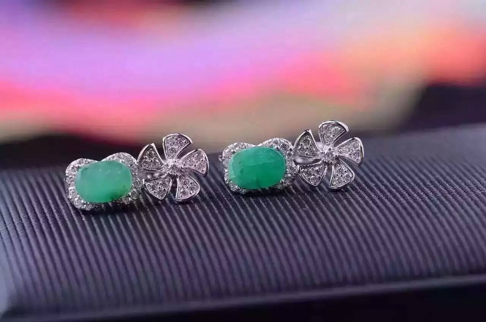 natural green emerald drop earrings 925 silver Natural gemstone earring women personality Windmill drop earrings for party